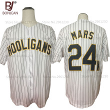 BONJEAN New Cheap Bruno Mars 24K Hooligans White Pinstriped BET Awards Throwback Baseball Jerseys Button Down Stitched Jersey