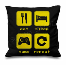 "Eat Sleep Game Cushion Cover Eat Sleep Game Repeat Throw Pillow Case Funny Black Custom Gamer Gifts Home Car Decor 18"" Two Sides(China)"