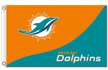 Top design Miami Dolphins flag 90x150cm outdoor polyester banner with 2 Metal  s Wholesale