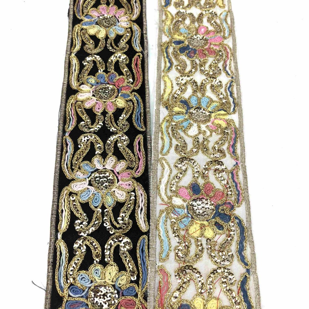 1m pink gold jacquard embroidered ribbon applique motif trimming decor Indian