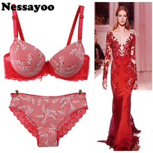 Women Brand Push Up Bra & Brief Set Sexy Lace Girl Lingerie 34B 36B 38B Printed Bra Underwear Sexy Lingerie Push Up Lace Bra Set