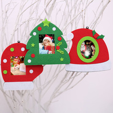 Non-woven Christmas Photo Frame Picture Holder Frame Xmas Tree Ornaments Gift Home Decoration(China)