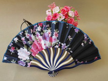 Free Shipping 30pcs/lot bamboo frame satin fabric hand fan,wedding silk folding fan gift favor