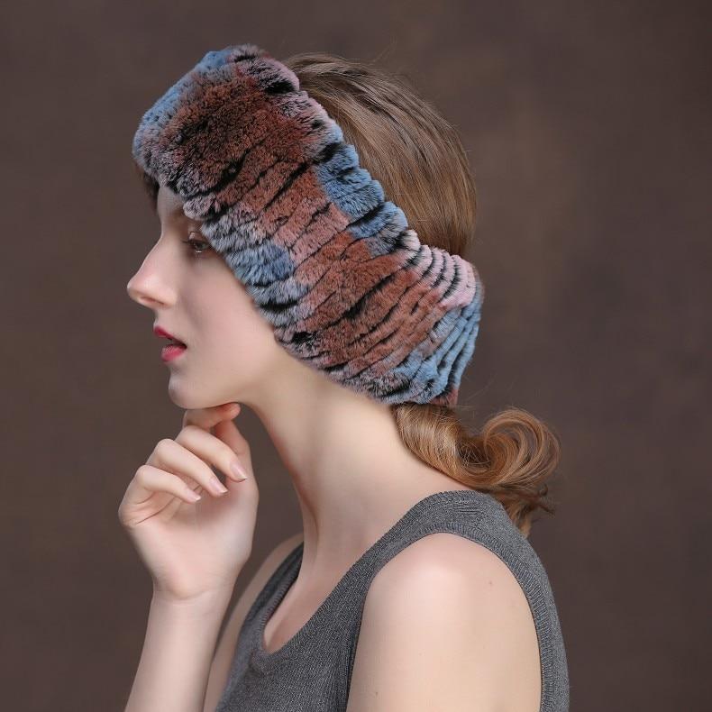 Winter Fur Headbands For Women Knitted Rex Rabbit Fur Scarf Hats Natural Fur Ring hairband Neckwarmer female (8)
