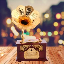 Retro Phonograph Shape Music Box Gift Gramophone Hand-cranked Classic Gold Trumpet Horn Creative Crafts Brithday Gift For Elise