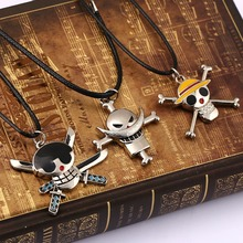 Anime Jewelry Fashion One Piece Necklace Collares Skeleton silver Pendant Rope Chain Necklace Men Jewelry high quality