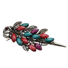 Free Shipping 1PCS 115 * 50mm retro national wind seven color studded peacock alloy hairpin hair ornaments(China)