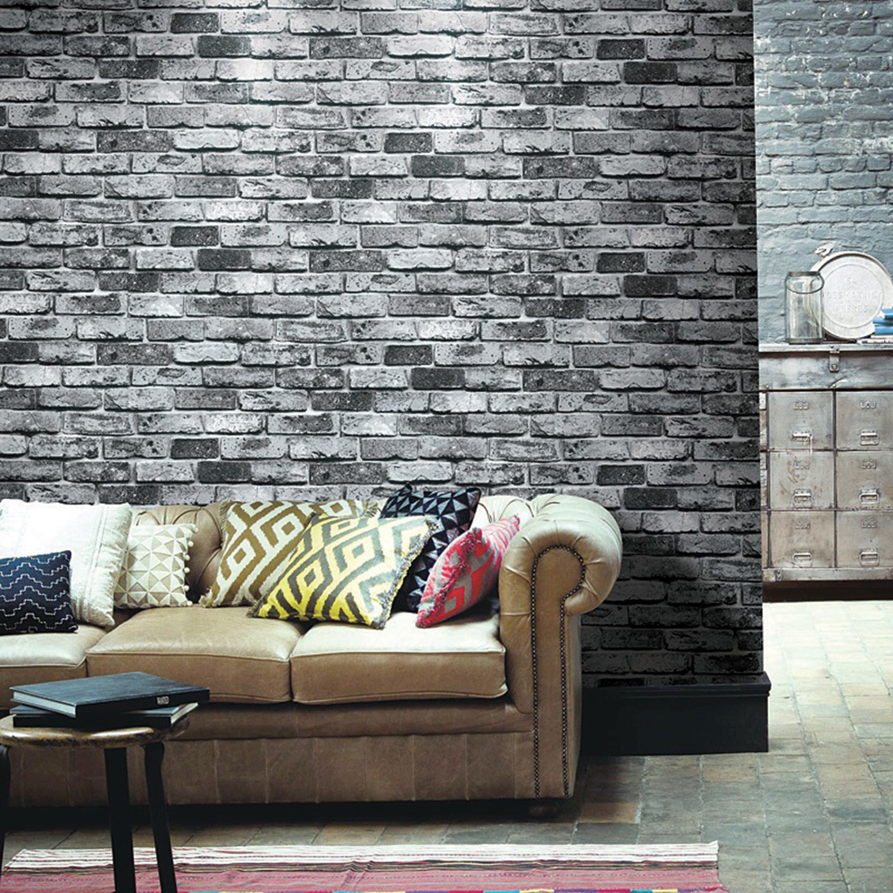 HaokHome Vintage Faux Brick Stone Wallpaper Black Multi Vinyl 3D Living Bedroom Bathroom Home Wall Decoration,0.53m*10m/roll<br>