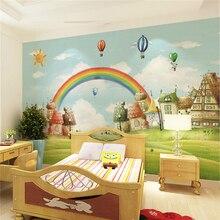 Rainbow children 's room cartoon canvas wallpaper children' s bedroom bedside background wall wallpaper environmental murals