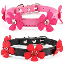 Factory Price! Adjustable Flower Leads  Neck Strap Pet Small Dog Cat PU Leather Collar Buckle XS S M L