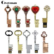 key Pen Drive 64GB 32GB Metal bronze Heart key Flash Drive USB 2.0 Pendrive Memory Stick Drives 16GB 8GB 4GB Usb Flash Drive