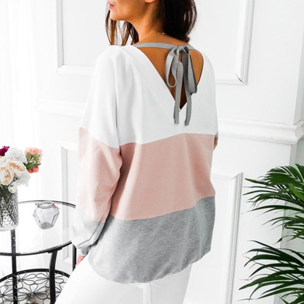 Lace up Bandage Long Sleeve Sweatshirt Hoodie Loose Casual Tops Tee Shirt Hoodies Pullover 12