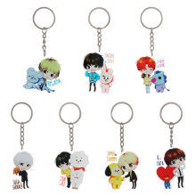 1 Pcs Korean Style Cute Cartoon Kpop BT21 Key Chain Bangtan Boys BTS Keychain Love Yourself Acrylic Women Bag Charm Keyring Gift(China)