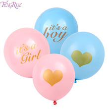 FENGRISE 10pcs Baby Shower Balloons Gold Glitter Pink Blue Its A Girl Boy Gender Reveal Babyshower Decorations Party Supplies