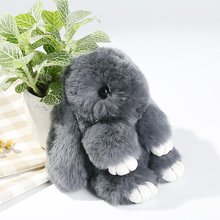 Genuine Rex Rabbit Plush Toy Pendant Key-chain Bag Car Charm Tag Mini Rabbit Furs Toys Doll