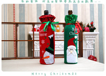 20pcs Santa Claus Snowman Design Wine Bottle Cover Red Wine Gift Bags Action Toys Best Gift(China)