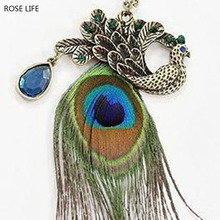 ROSE LIFE 2017 Europe And The United States Retro Long Necklace Peacock Feather Necklace