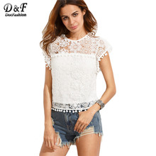 Dotfashion Cute Shirts for Women Korean Style Ladies Shirts White Pompom Trim Lace  Cap Sleeve  Round Neck Blouse