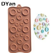 19-hole Buttons Shaped Silicone Mold Chocolate Jelly Pudding Mold Bakery Mold Cupcake A050