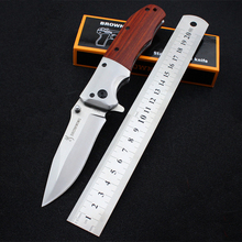 100% Hand-forging Pocket Folding Knife 3Cr13Mov Stainless Steel Hunting Knives Red Wood Handle Self-defense Survival Tools