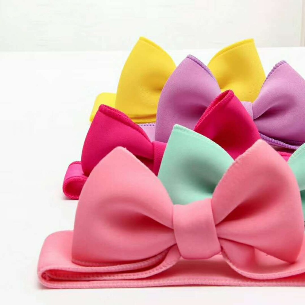 Fashion kids infant child girls head wraps tiara elastic ribbon headband satin big bows headwrap hair bands Accessories For Party (4)