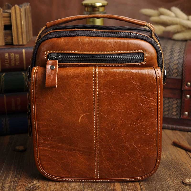 Vintage Oil wax Genuine Leather Men bag messenger Business Mens Handbag Bags  Casual small shoulder bags mens Travel bag <br><br>Aliexpress