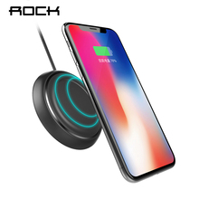QI Wireless Charger, ROCK Fast Charging Pad For iPhone X 10 8 Samsung Note 8 S8 Plus S7 S6 Edge Quick Charge Smart USB Dock 5W(China)
