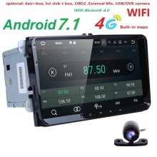 2 Din 9 inch Quad core Android 7.1 car dvd GPS for VW Polo Jetta Tiguan passat b6 cc fabia mirror link 4G wifi Radio BT in dash(China)
