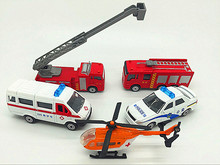 5pcs 8cm Alloy car model ambulance Ambulance helicopter Fire engines Child car model Model toys Metal materials automotive model