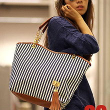 2016 Fashion Women\'s Lady Street Tassel bags Snap Candid Tote Shoulder Bag Handbags Canvas B012