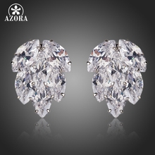 AZORA Clear Botryoid With Top AAA+ Cubic Zirconia Cluster Stud Earrings for Women TE0128(China)