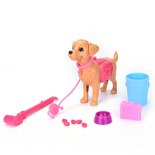 13pcs/set Greedy Dog Bowl Feeding bone Toy for Barbie Doll gift Furniture Doll Accessories Drop Shipping(China)