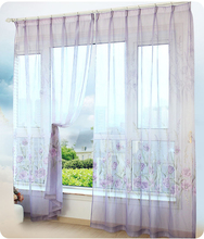 Beautiful Pastoral Floral tulle curtains Window decoration Printed Voile Curtain (Color of 4) Sold as single panel S16508