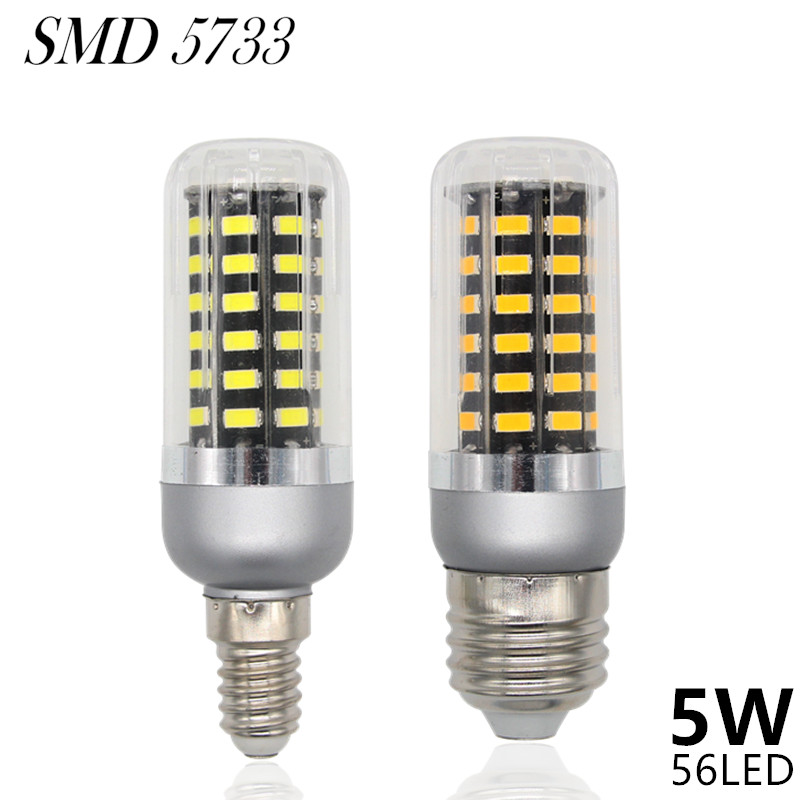 5733 SMD Dimmable Lampada LED Lamp E27 220V 5W 56LED Lamparas LED Bulbs E14 Spotlight Candle Luz Segmented Dimmer Light<br><br>Aliexpress
