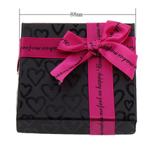 24pcs Cardboard Bracelet Box with Satin Ribbon Square heart pattern with letter pattern black Display Packaging Gift 88x88x20mm