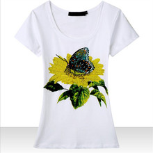 Candy rain Beading Sunflower and Butterfly top quality summer t shirt women short sleeve cotton t-shirt 4 colors free shipping