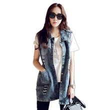 Korea Fashion Frayed Hole Women's Vests 2017 Pocket Denim Long Vest Coat Sleeveless Jacket Female An Elongated Jacket Jeans Vest