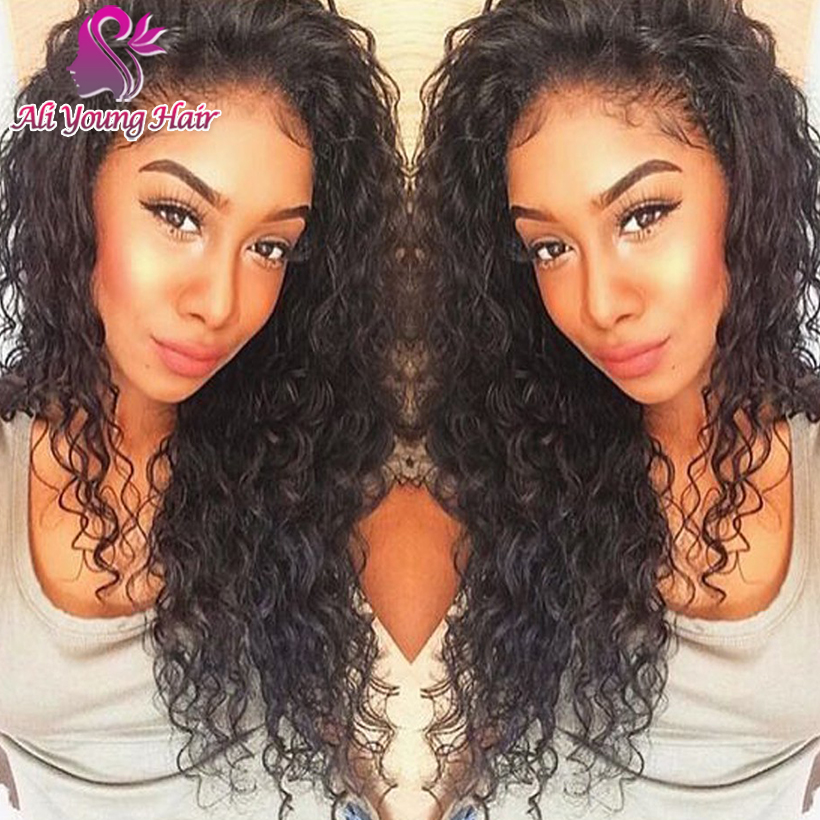 New Fashion Curly Glueless Full Lace Human Hair Wigs Brazilian Virgin Hair Lace Front U Part Wigs For Black Women With Baby Hair<br><br>Aliexpress