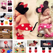 Mickey Designs Baby Crochet Photography Props Infant Costume Photo Props Fotografia Outfits Newborn Christmas Crochet Beanies(China)