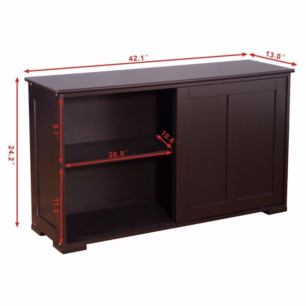 Home Living Room Storage Cabinet Cupboard Wood Sliding Door