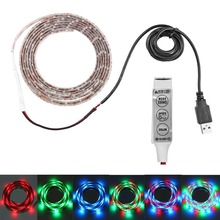 DC5V double PCB 1-5m SMD 3528 RGB 60 led Flexible Strip 3M tape diodes lamp+USB Cable Port+3key controller for TV Background