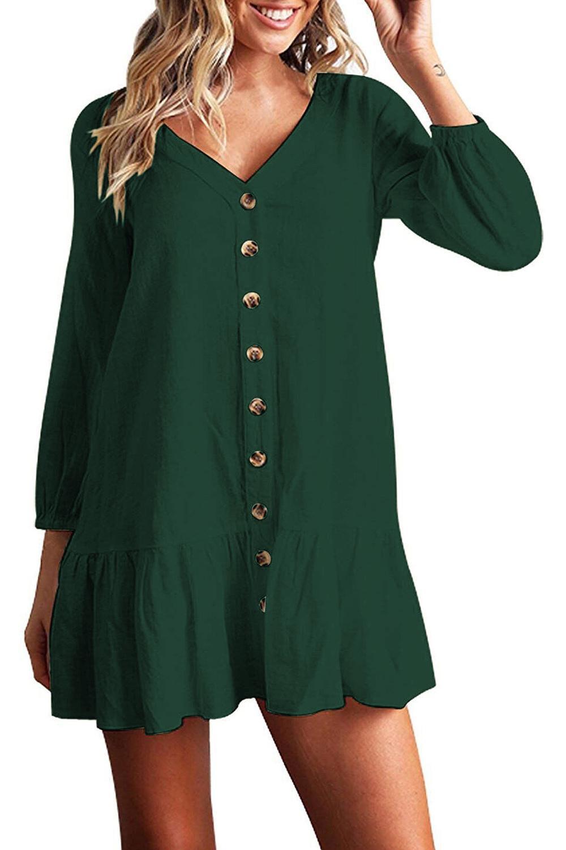Women Autumn Dresses V Neck Cotton Linen Dress Femme 2018 Mini Casual Ruffle Long Sleeve T Shirt Dress Women Linen Dress 7
