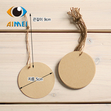 100 kraft paper round small label Blank tag bookmarks chocolate packaging card wholesale gift card