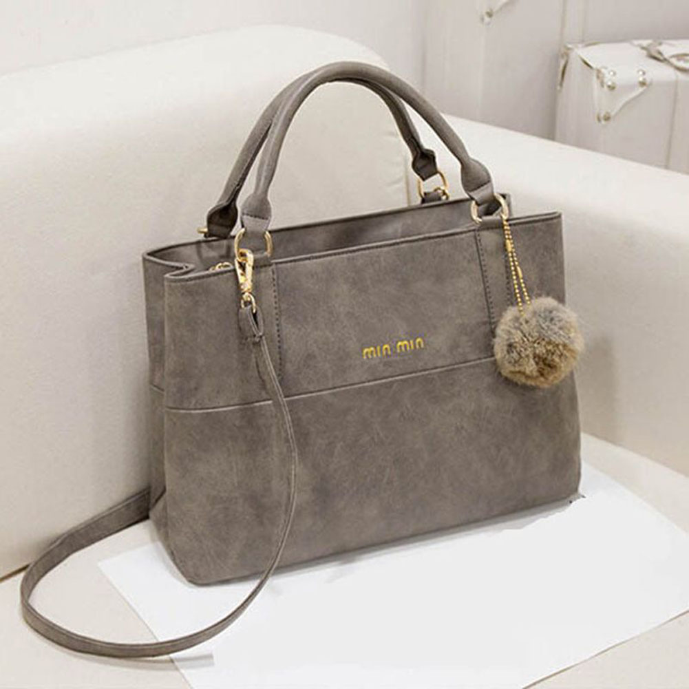 winter new Korean fashion retro matte Leather Handbag Grey/Khaki hair ball Satchel hair ball decoration Handbag Shoulder Bag<br><br>Aliexpress