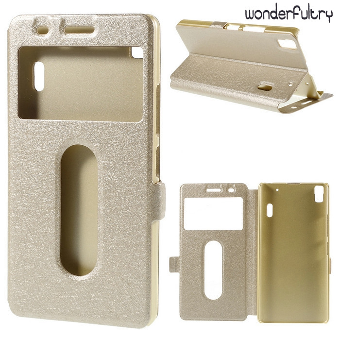 Wonderfultry Lenovo K3 Note K50 T5 Case Silk Texture Dual View Window Leather Cover Capa Lenovo K3 Note K50-t5 / A7000 Teana