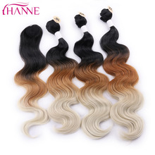 HANNE 3Pcs Synthetic Hair Extensions With One Closure Natural Body Wave Weft Hair Weaving Ombre Hair Weave Black Brow Blonde(China)