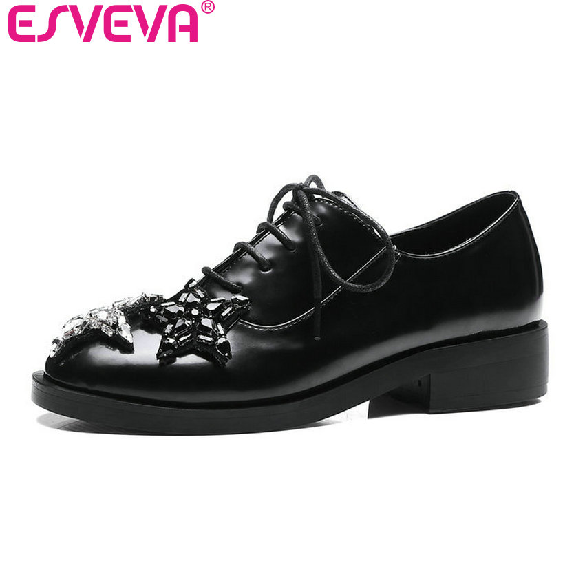 ESVEVA 2017 Star Rhinestone Square Low Heel Woman Pumps British Style Spring Autumn Shoes Women Lace Up Fashion Shoes Size 34-43<br>