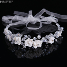 2017 new crystal Ceramic flowers Headdress luxury Party Wedding Accessories bride most beautiful hair band Jewelry Accessories