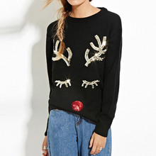 New Christmas red sequin Sweaters Snowman Wearing Scarf and Gloves Christmas Tree pullover Snowflake Patterned Deer sweaters