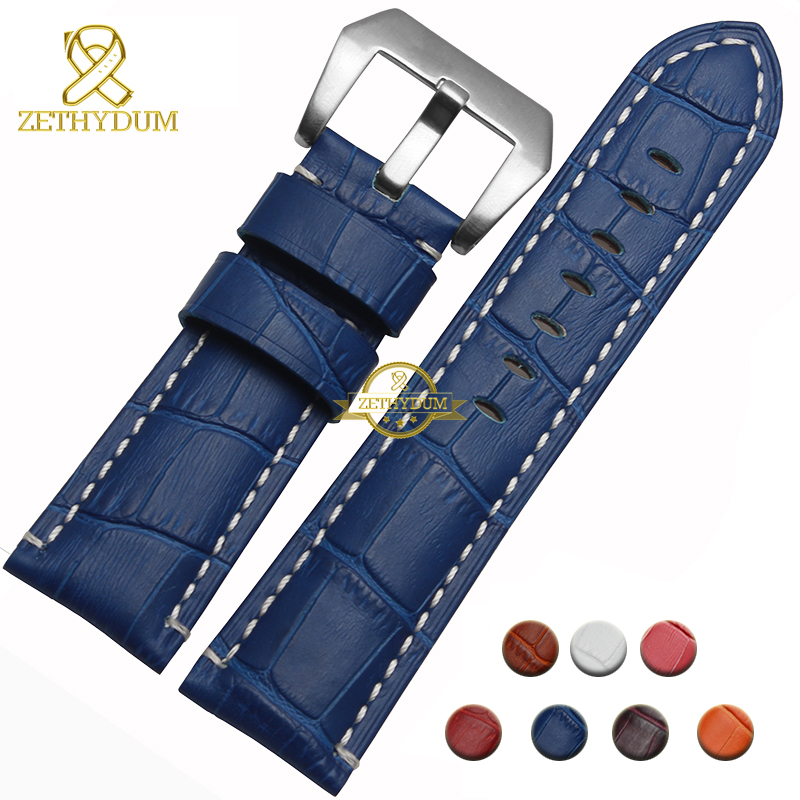 Genuine leather bracelet watch strap 24mm fashion watchband wristwatches band multicolor pink blue red brown watch accessories<br><br>Aliexpress